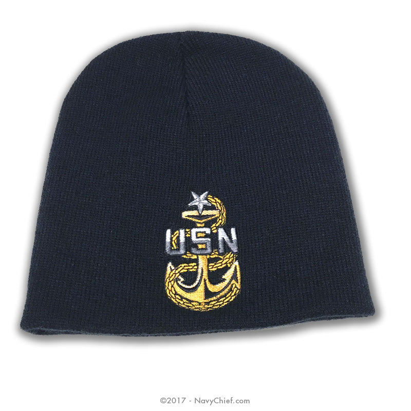 Embroidered CPO, SCPO, MCPO Anchor Knit Cap, Navy - NavyChief.com - Navy Pride, Chief Pride.