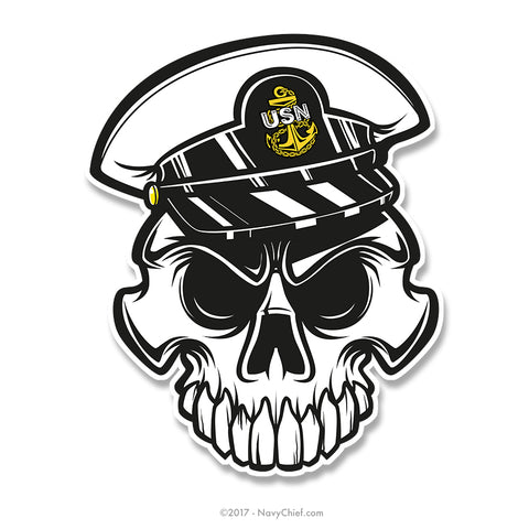 "Anchor Up Skull - 4"" Sticker - CPO - NavyChief.com - Navy Pride, Chief Pride."