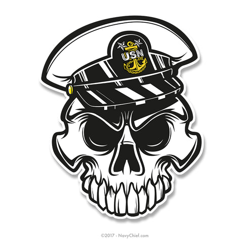 "Anchor Up Skull - 4"" Sticker - MCPO - NavyChief.com - Navy Pride, Chief Pride."