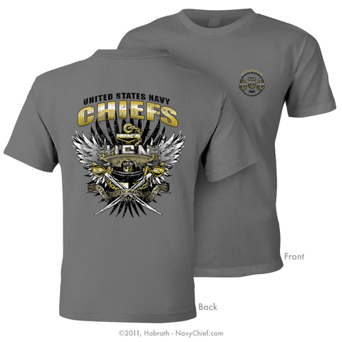 """The Chosen Few - United States Navy Chiefs"" Distressed Print T-shirt, Charcoal - NavyChief.com"