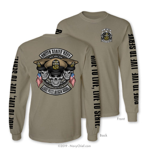 """Initiated Biker"" Long Sleeve Tee, Khaki - NavyChief.com - Navy Pride, Chief Pride."