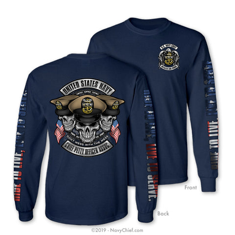 """Initiated Biker"" Long Sleeve Tee, Navy"