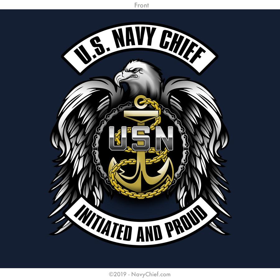 """Initiated Biker"" T-shirt, Navy - NavyChief.com - Navy Pride, Chief Pride."