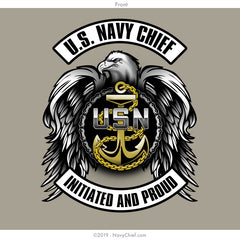 """Initiated Biker"" T-shirt, Khaki - NavyChief.com - Navy Pride, Chief Pride."