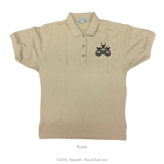 Mens/Womens Embroidered Chevrons Polo, Khaki - NavyChief.com - Navy Pride, Chief Pride.