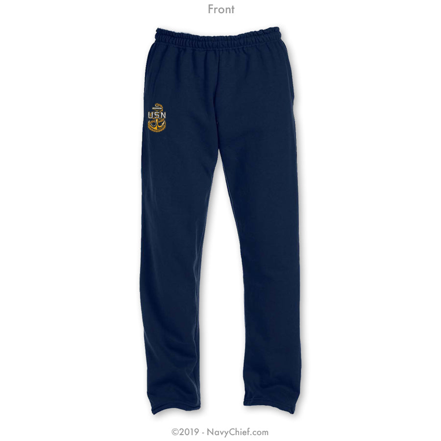 """Embroidered Anchor"" Sweatpants - Navy"