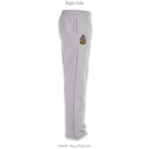 """Embroidered Anchor"" Sweatpants - Grey - NavyChief.com - Navy Pride, Chief Pride."