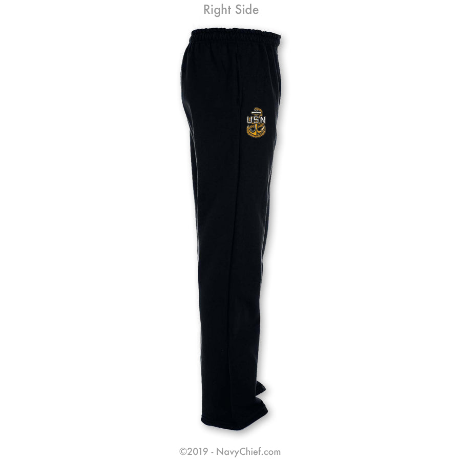 """Embroidered Anchor"" Sweatpants - Black - NavyChief.com - Navy Pride, Chief Pride."