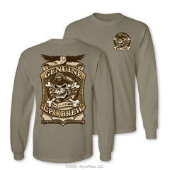 """CPO Brew"" Long Sleeve Tee, Khaki"