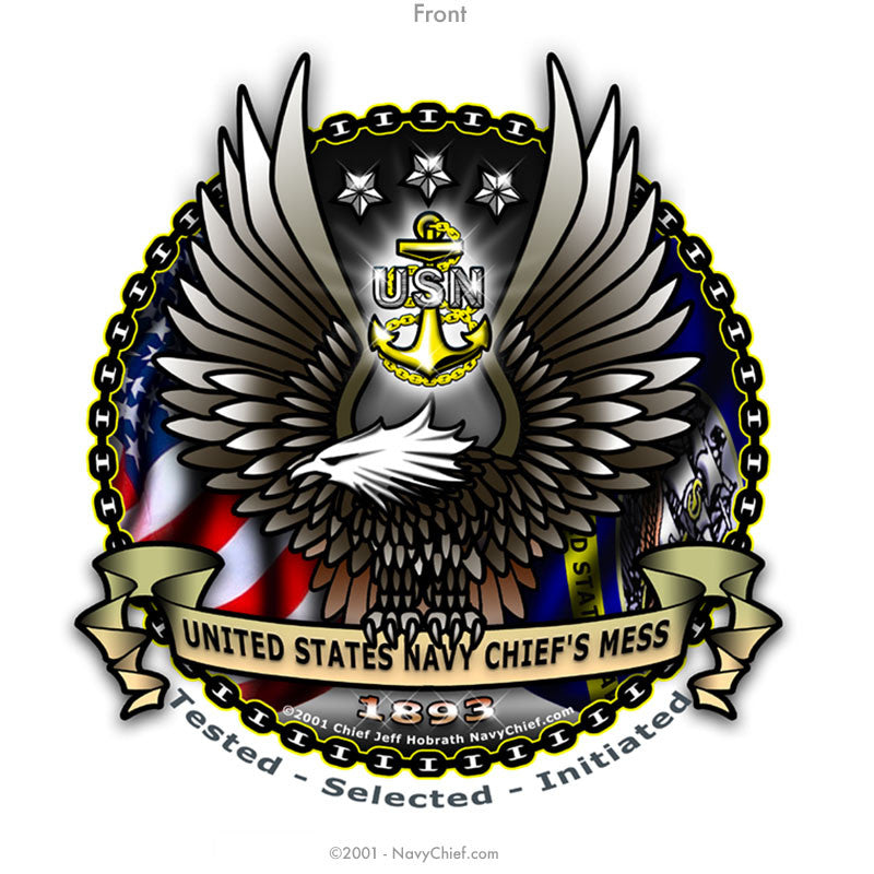 """CPO EAGLE"" Zippered Hooded Sweatshirt - White - NavyChief.com - Navy Pride, Chief Pride."