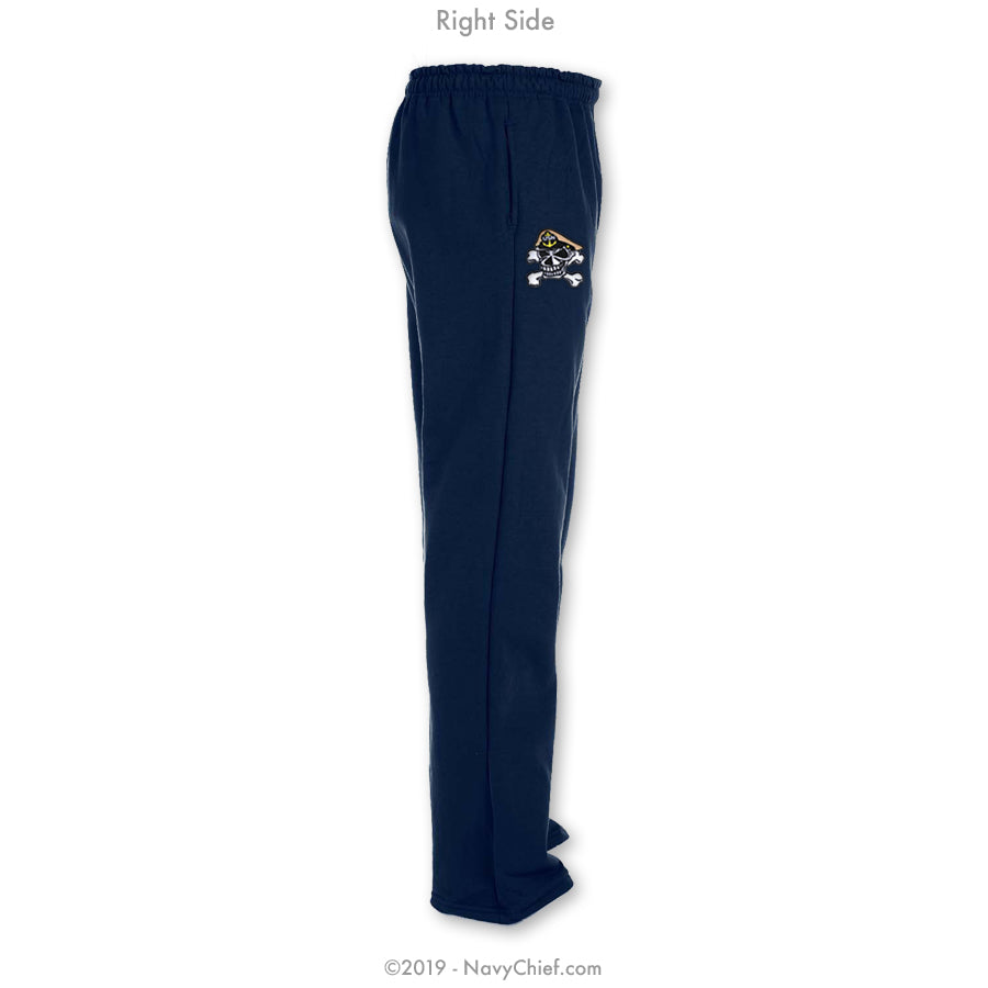 """Embroidered Skull"" Sweatpants - Navy - NavyChief.com - Navy Pride, Chief Pride."