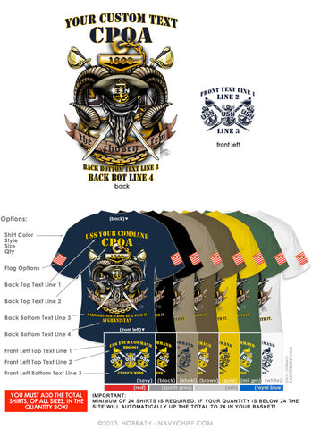 "Semi-Custom Bulk Order Template 002 ""CPO Goat Skull"" Screen Printed T-shirts - NavyChief.com - Navy Pride, Chief Pride."