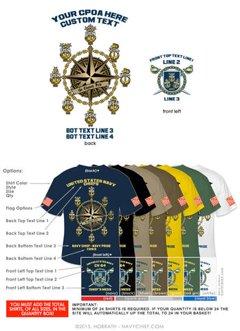 "Semi-Custom Bulk Order Template 003 ""CPO Anchor Compass"" Screen Printed T-shirts - NavyChief.com - Navy Pride, Chief Pride."