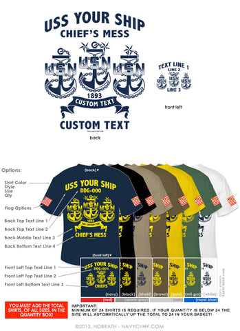 "Semi-Custom Bulk Order Template 004 ""CPO, SCPO, MCPO Anchors"" Screen Printed T-shirts - NavyChief.com - Navy Pride, Chief Pride."