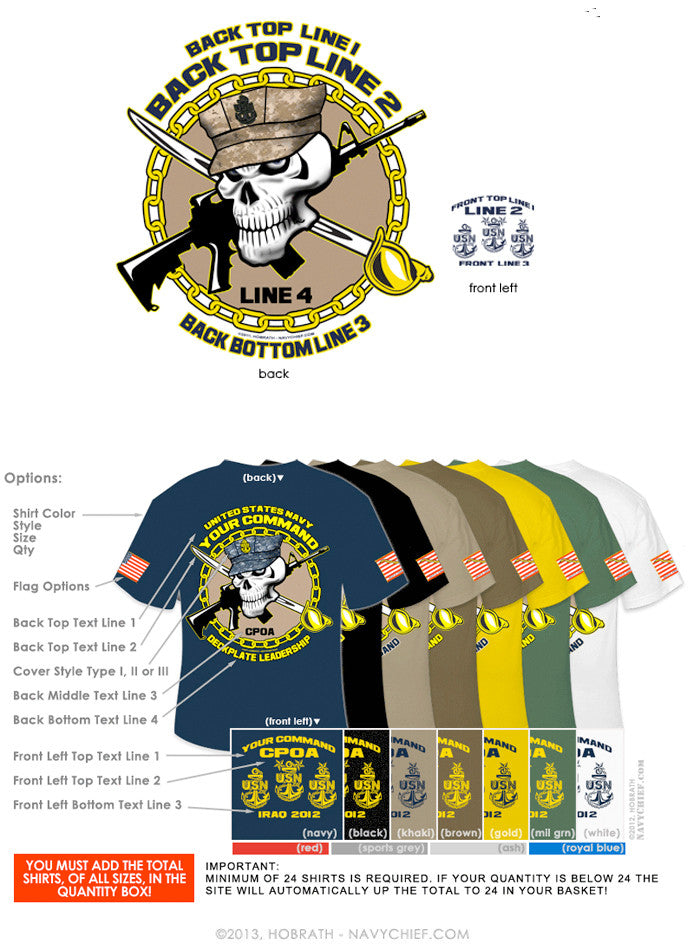 "Semi-Custom Bulk Order Template 005 ""CPO Skull with Cutlass & Rifle"" Screen Printed T-shirts - NavyChief.com - Navy Pride, Chief Pride."