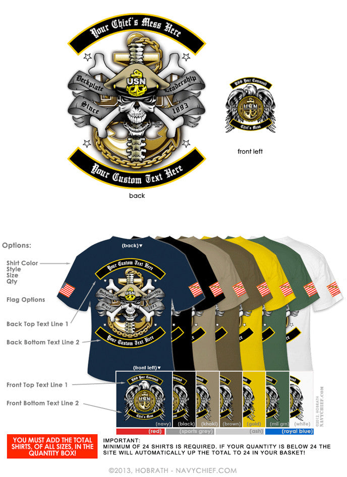 "Semi-Custom Bulk Order Template 007 ""CPO Skull, Bones & Anchor"" Screen Printed T-shirts - NavyChief.com - Navy Pride, Chief Pride."