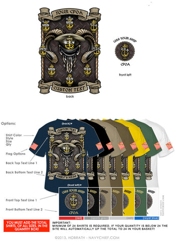 "Semi-Custom Bulk Order Template 011 ""CPO Anchors & Goat Skull"" Screen Printed T-shirts - NavyChief.com - Navy Pride, Chief Pride."