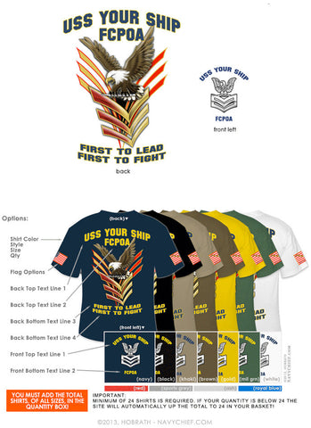 "Semi-Custom Bulk Order Template 021 ""FIRST CLASS EAGLE CHEVRONS"" Screen Printed T-shirts - NavyChief.com - Navy Pride, Chief Pride."