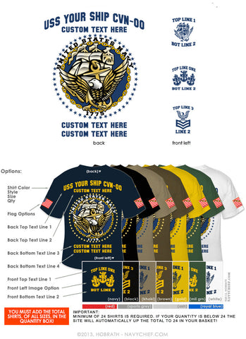 "Semi-Custom Bulk Order Template 022 ""NAVY ACE (Anchor, Constitution, Eagle)"" Screen Printed T-shirts - NavyChief.com - Navy Pride, Chief Pride."