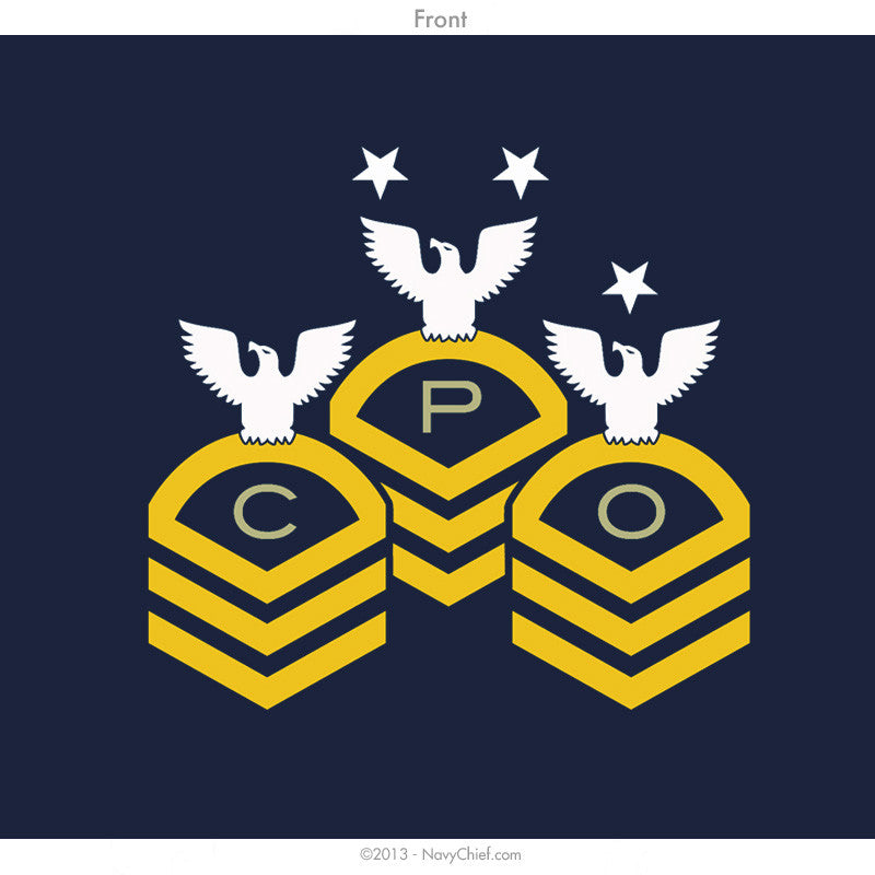 """Chevrons"" Zippered Hooded Sweatshirt, Navy - NavyChief.com - Navy Pride, Chief Pride."