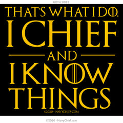 """I Chief and I Know Things"" 12 oz Can Koozie, Black"