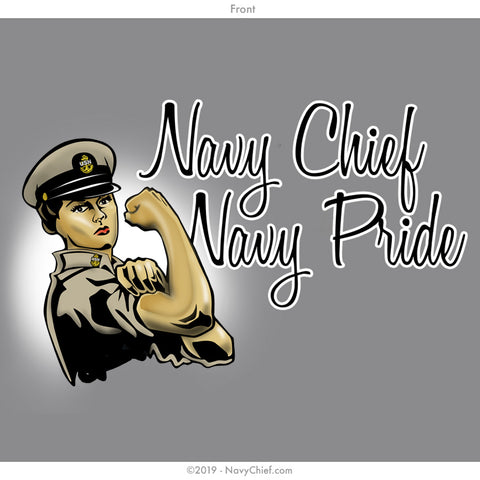 """Chief Rosie"" Ladies Tee, Sports Gray - NavyChief.com - Navy Pride, Chief Pride."