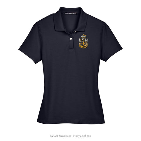 Embroidered Anchor - Ladies DRYTEC20™ Performance Polo, Navy