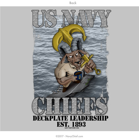 """Deckplate Leadership"" T-shirt, Grey - NavyChief.com - Navy Pride, Chief Pride."