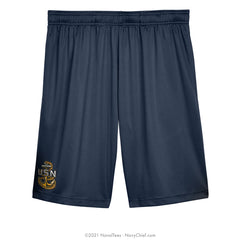 """Embroidered CPO Anchor"" Performance Shorts - Navy"