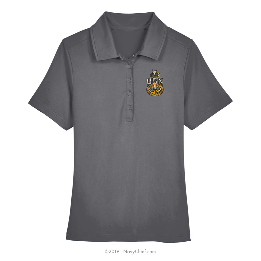 Embroidered Anchor - Ladies' Range Flex Performance Polo, Gray - NavyChief.com - Navy Pride, Chief Pride.