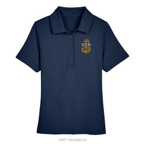 Embroidered Anchor - Ladies' Range Flex Performance Polo, Navy - NavyChief.com - Navy Pride, Chief Pride.