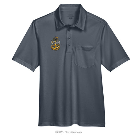 Embroidered Anchor - Snag Protection Plus Polo w/ Pocket - NavyChief.com - Navy Pride, Chief Pride.