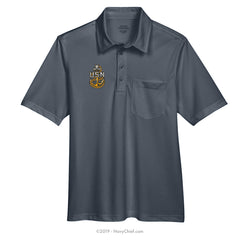 Embroidered Anchor - Snag Protection Plus Polo w/ Pocket, Gray - NavyChief.com - Navy Pride, Chief Pride.