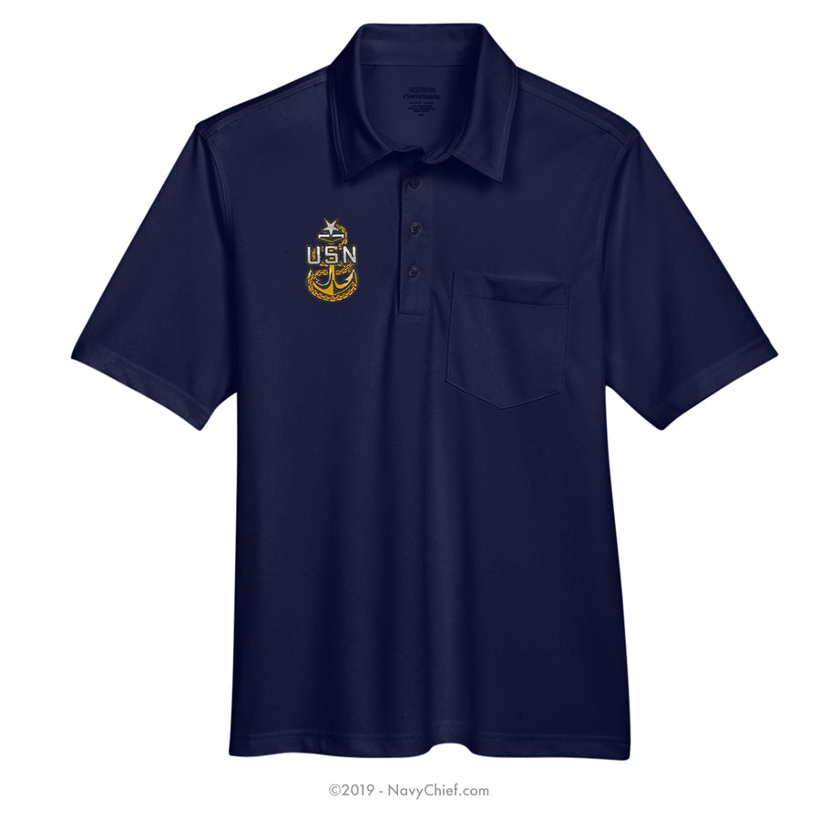 Embroidered Anchor - Snag Protection Plus Polo w/ Pocket, Navy - NavyChief.com - Navy Pride, Chief Pride.