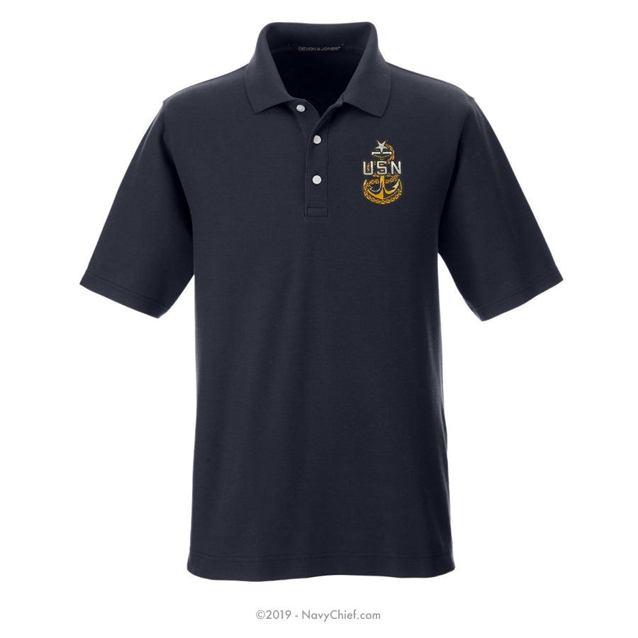 Embroidered Anchor - Men's DRYTEC20™ Performance Polo, Navy - NavyChief.com - Navy Pride, Chief Pride.