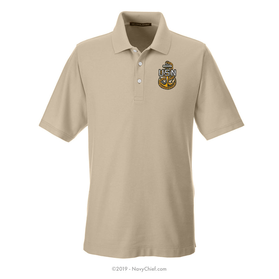 Embroidered Anchor - Men's DRYTEC20™ Performance Polo, Khaki - NavyChief.com - Navy Pride, Chief Pride.