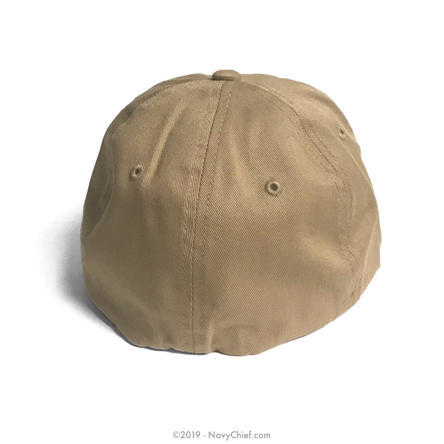 """Embroidered Anchor"" Flex Fit Dad Hat, Khaki"
