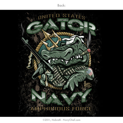 """Gator Navy - Fighting Forward From the Sea"" T-shirt, Black - NavyChief.com - Navy Pride, Chief Pride."
