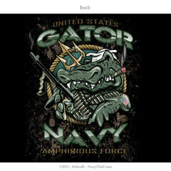 """Gator Navy - Fighting Forward From the Sea"" T-shirt, Black - NavyChief.com"