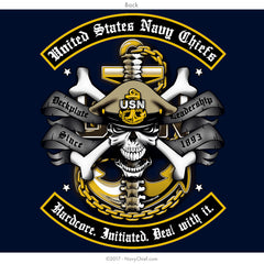"US Navy Chiefs ""Hardcore. Initiated. Deal with it."" T-shirt, Navy - NavyChief.com - Navy Pride, Chief Pride."