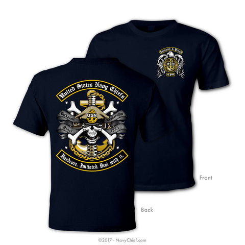 "US Navy Chiefs ""Hardcore. Initiated. Deal with it."" T-shirt, Navy"