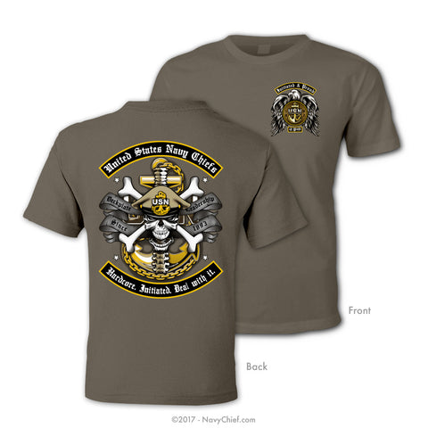 "US Navy Chiefs ""Hardcore. Initiated. Deal with it."" T-shirt, Safari Brown"