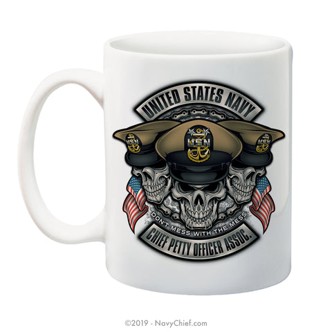 """Initiated Biker"" - 15 oz Coffee Mug - NavyChief.com - Navy Pride, Chief Pride."