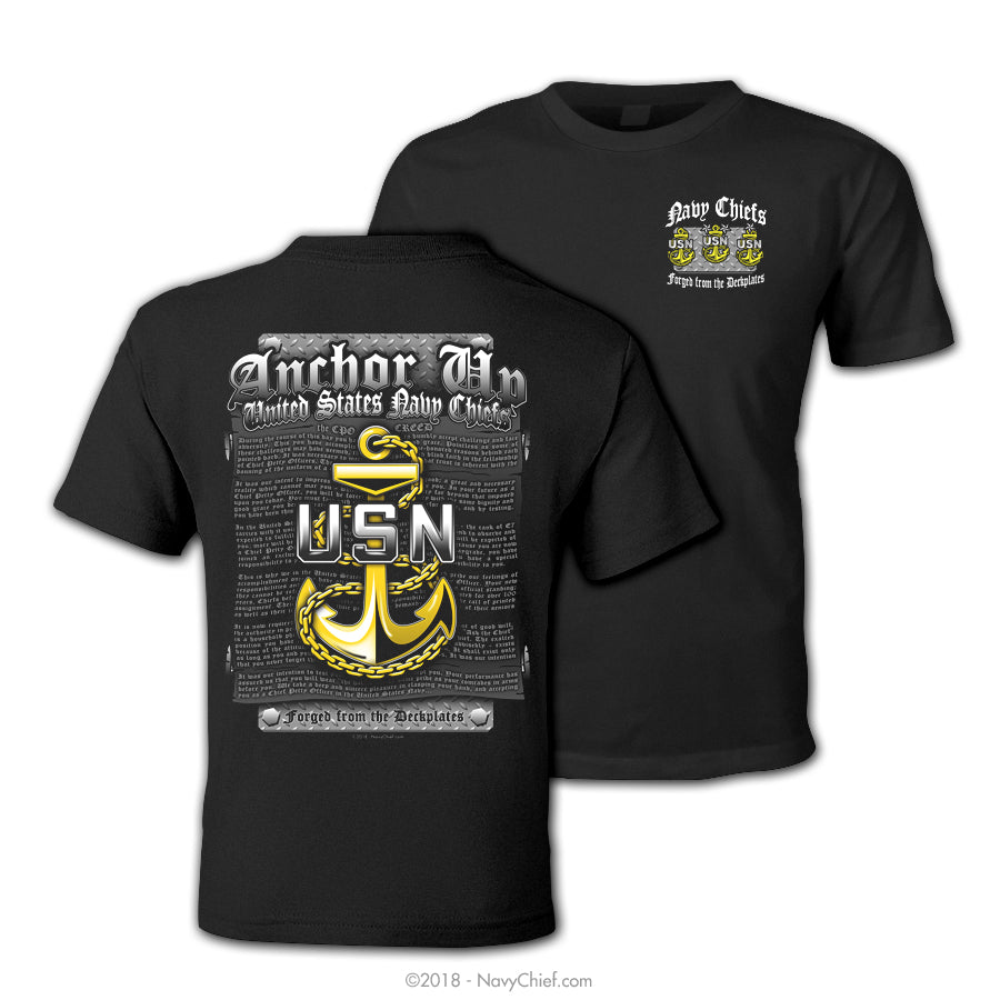 "Anchor Up ""CPO CREED"" T-shirt, Black - NavyChief.com - Navy Pride, Chief Pride."