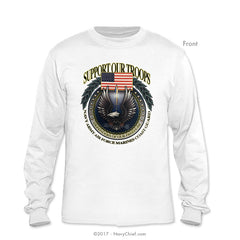 """Support Our Troops"" Long Sleeve T-Shirt, White - NavyChief.com - Navy Pride, Chief Pride."