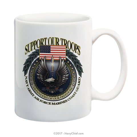 """Support Our Troops"" 15 oz Coffee Mug - NavyChief.com - Navy Pride, Chief Pride."