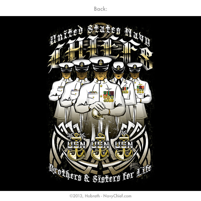 "U.S. Navy Chiefs ""Brothers and Sisters for Life"" T-shirt, Black - NavyChief.com"