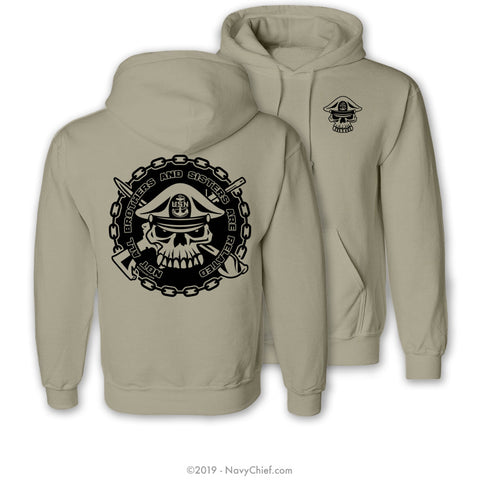 """Brothers And Sisters"" Hooded Sweatshirt, Khaki - NavyChief.com - Navy Pride, Chief Pride."