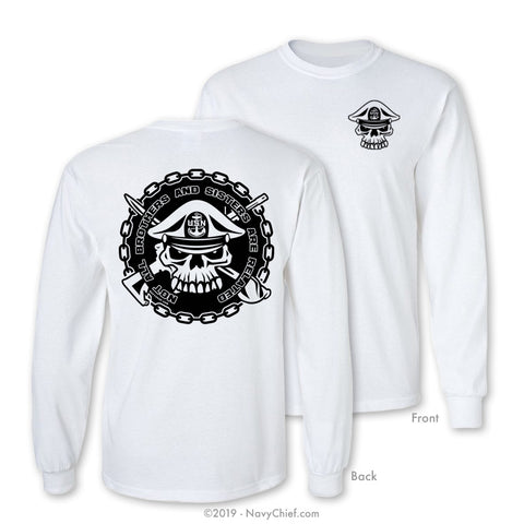 """Brothers & Sisters"" Long Sleeve Tee, White - NavyChief.com - Navy Pride, Chief Pride."