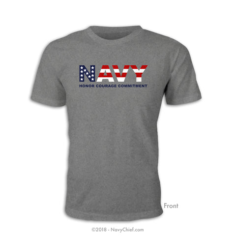 """Navy Patriot"" T-shirt, Sports Gray"